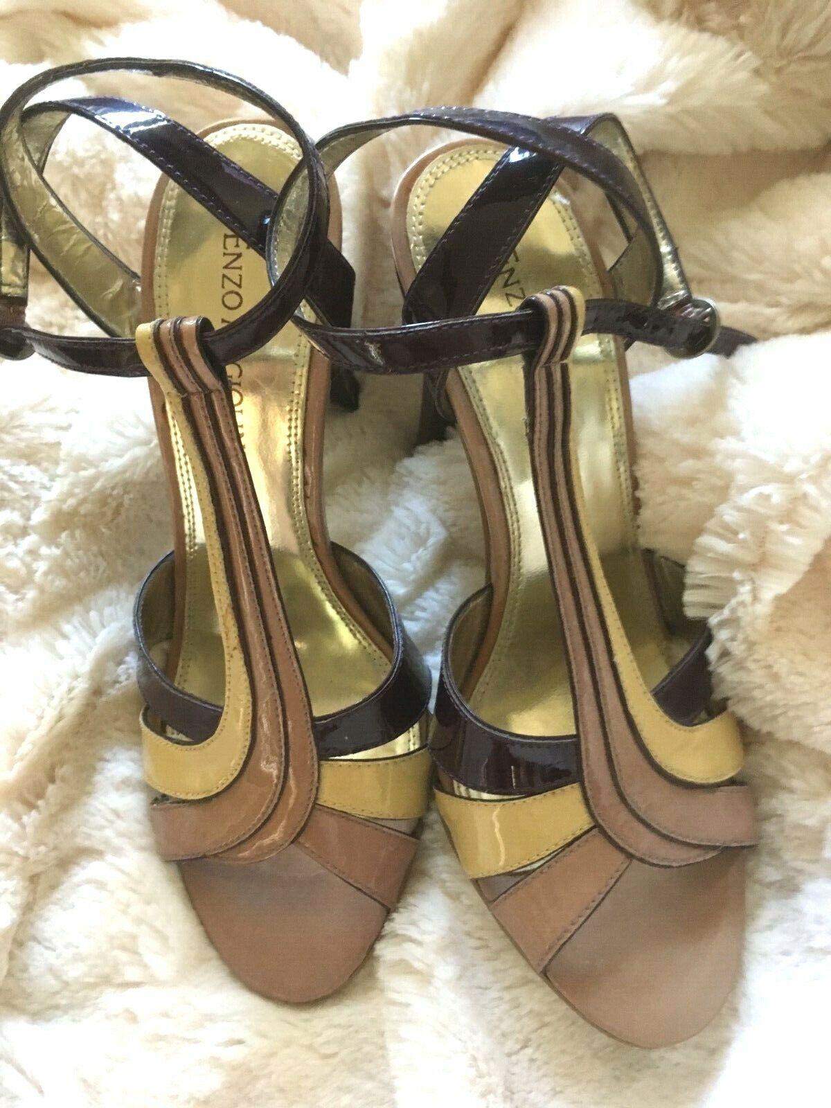 4bdf53c9241 Enzo Angiolini Leather Purple & Cream High Heels Heels Heels 88a461 ...