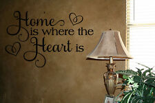 HOME IS WHERE THE HEART IS LETTERING VINYL WALL DECALS SAYINGS QUOTES DECOR