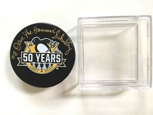 Pittsburgh-Penquin-Dave-The-Hammer-Schultz-Autographed-50th-Anniversary-Puck