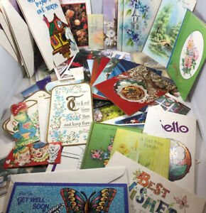 Lot-of-80-vintage-cards-Christmas-Birthday-Get-Well-Sympathy-Valentines-Notes