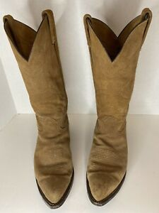 Vintage-Tony-Lama-Tanglewood-Roughwood-Suede-Pull-On-Cowboy-Boots-Size-9D