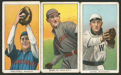 THREE WELL CENTERED 1909 1910 T206 SWEET CAPORAL MAJOR LEAGUE BASEBALL CARDS