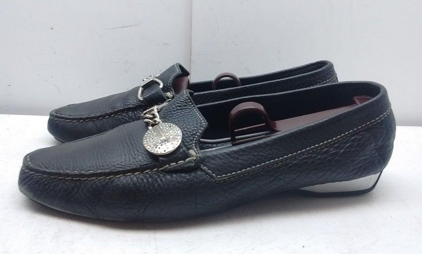 Baldinini Trend Italian Women Black Leather Horse bit Loafer Driving shoes 8M 39