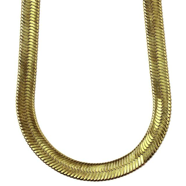 New 18K Yellow Gold Plated 24in Herringbone Chain Necklace 6 MM