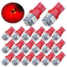 20x Super Red T10 Led Bulbs Car Interior License Light 2825 192 194 5050 5 Smd
