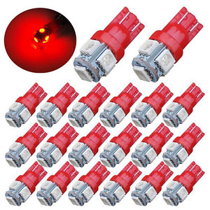 20x-Super-Red-T10-LED-Bulbs-Car-Interior-License-Light-2825-192-194-5050-5-SMD