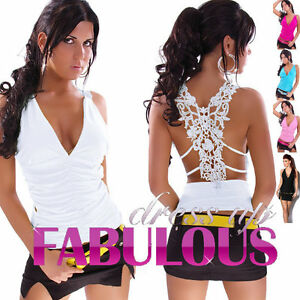 NEW-SEXY-WOMEN-039-S-LACE-TOP-CLUBBING-EVENING-LADIES-PARTY-CASUAL-Size-4-6-8-10-S-M
