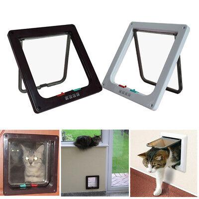 4 Way Large Medium Small Pet Cat Puppy Dog Door Flap Locking Lockable Safe Gate