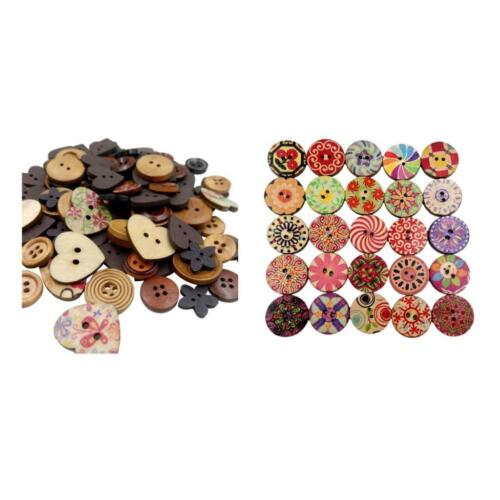 Mixed Wooden Buttons DIY Decorative Buttons For DIY Crad Making Clothes Decor