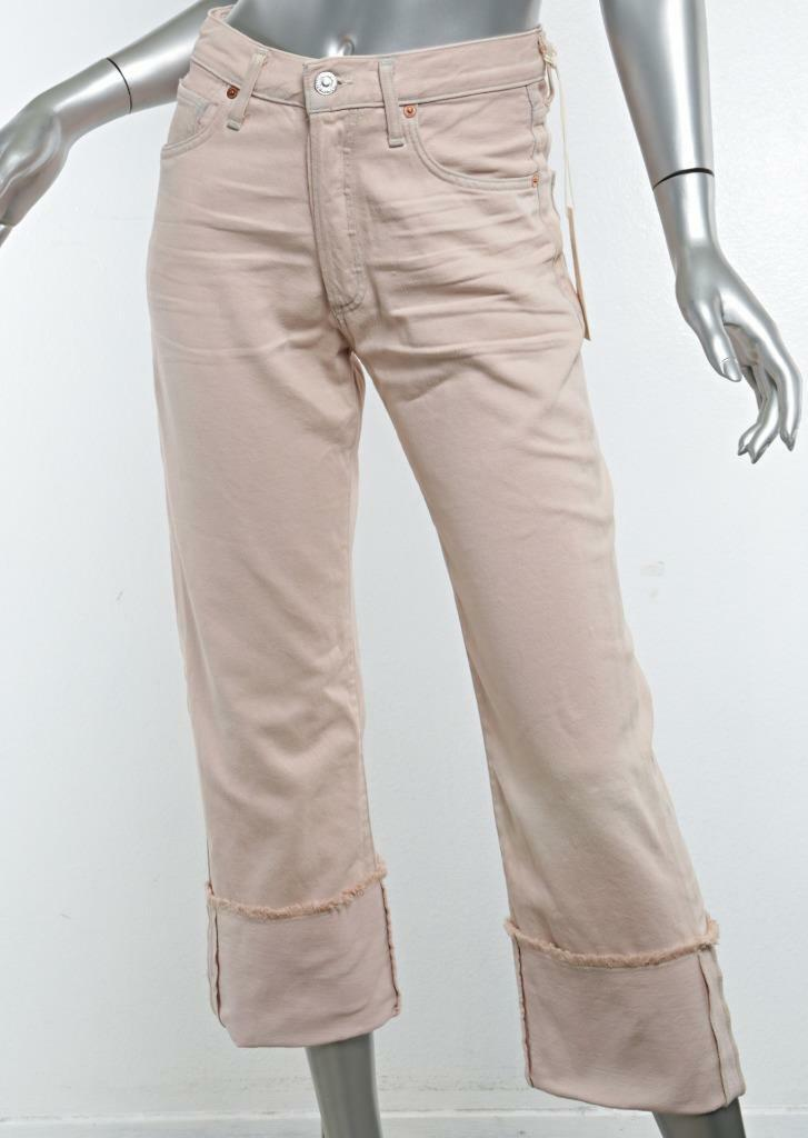 CITIZENS OF HUMANITY PARKER pink Quartz Relaxed Cuffed Cropped Pants Jean 24 NWT