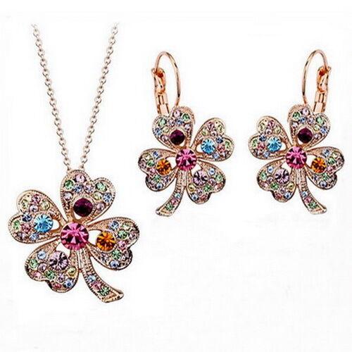 Pedrería set trébol suerte oro plata Clover Luck four-leaf trébol amuleto