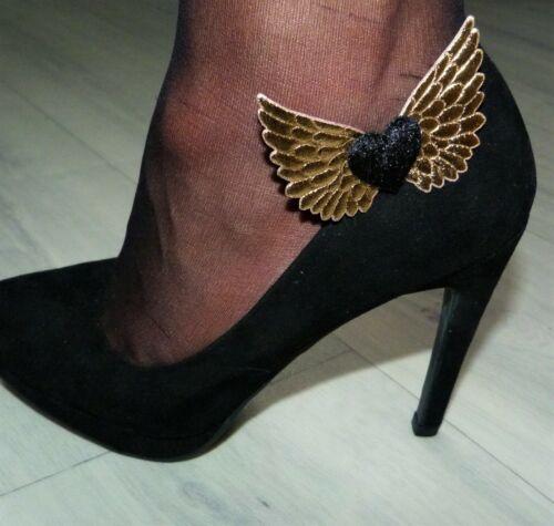 Velours Noir HEARTS /& GOLD WINGS Shoe Clips-Handcrafted rock /'n/' roll Mariée