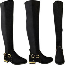 72a5780720c4 item 8 Womens Ladies Thigh High Boots Stretchy Studded Over The Knee Flat  Casual Size -Womens Ladies Thigh High Boots Stretchy Studded Over The Knee  Flat ...