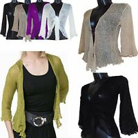 Ladies One Size Fine Knit Tie Front Bolero Crochet Shrug Bali Top Cardigan 8-18