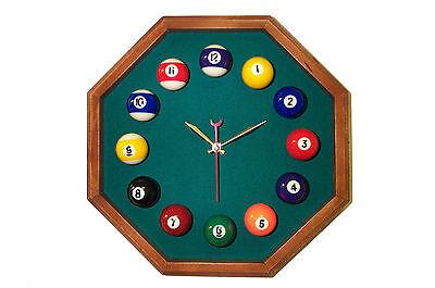 Green Felt Billiard Clock Octagon Mahogany Frame DK
