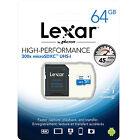 Lexar 64GB Micro SD SDXC MicroSD Class 10 64G 64 GB High-Performance 300x 45MB/s