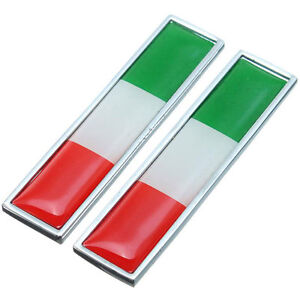 2x-Placchetta-adesivo-metallo-flag-Bandiera-Italia-auto-moto-scooter-emblema-car