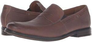 Gehorsam Clarks Mens Holmby Step Oxford Slip On Loafer Brown Leather Uk Size 8.5 G Herrenschuhe