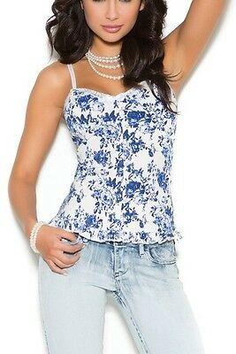 Bustier Front Close Stretch S-3X White Navy Floral G-String ELEGANT MOMENTS