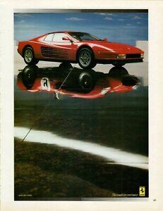 1990 Ferrari Testarossa Red Racing Reflection Color Car Photo Vintage Print Ad