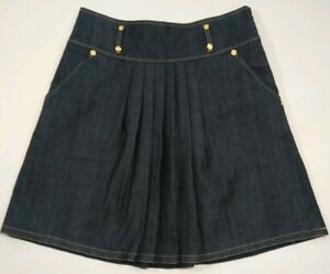 Lillie-Rubin-Womens-12-Dark-Wash-A-Line-Basic-Denim-Pleated-Skirt-Pockets-128