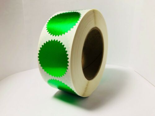 Shiny Green Foil Notary /& Certificate Seals Roll of 500 Seals 2 Inch Burst