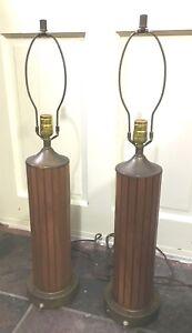 Vintage Mid Century Modern Wood Table Lamp Teak Slats Metal Base