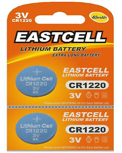 2-x-CR1220-3V-Lithium-Knopfzelle-40-mAh-1-Blistercard-a-2-Batterien-EASTCELL
