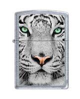 Zippo white Tiger Face Lighter, Street Chrome Finish, 0245