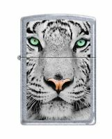 Zippo white Tiger Face Lighter, Street Chrome Finish, 0245