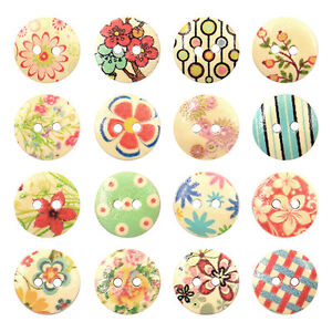 EG-100-Pcs-Mixed-2-Holes-White-Round-Pattern-Wood-Buttons-Sewing-Scrapbooking-1