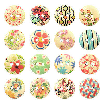 100 Pcs Mixed 2 Holes White Round Pattern Wood Buttons Sewing Scrapbooking 15mm