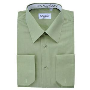 Berlioni-Italy-Men-039-s-Convertible-Cuff-Solid-Italian-French-Dress-Shirt-Sage