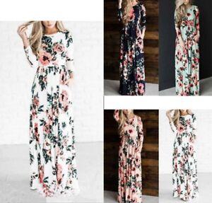 Vestito Donna Abito Lungo Fantasia Floreale Woman Flowers Maxi Dress 110343 P