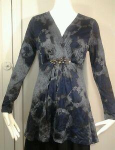 Alberto-Makali-Tunic-Shirt-Black-Blue-Embellishment-Fitted-Gathered-L-Sleeve-M