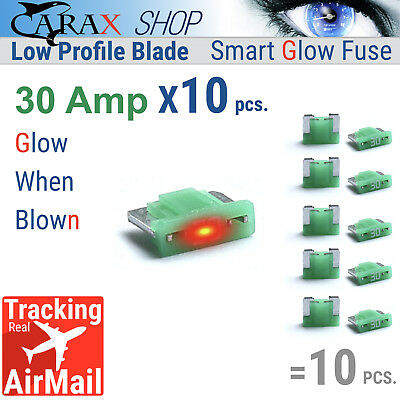 Illuminating Indicator Fuse That Glow When Blown Fuse MINI Blade 7.5A Carax Fuse Car Fuse Automotive ATC//ATO Fuses Replacement Kit Smart GLOW Fuse 10 pcs. Easy Identification