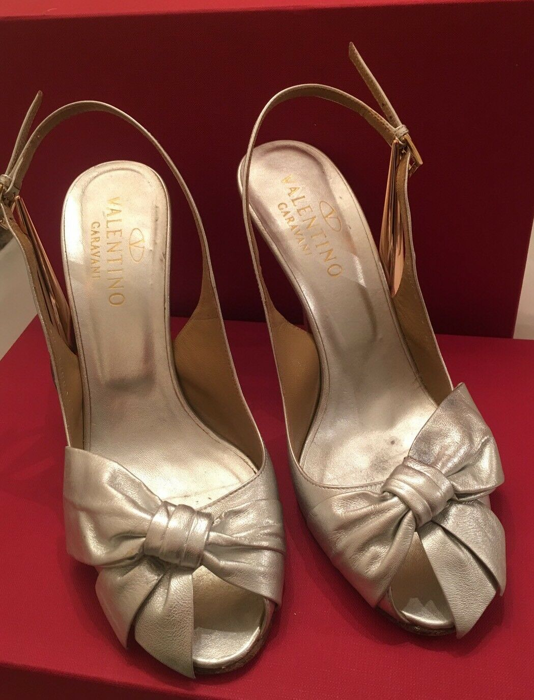 Valentino Garavani Silver With Bow Party shoes Sexy IT 40 US 9