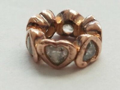 Cubic Zirconia Fashion Jewelry Practical Sparkling Hearts Charm Pandora Rose
