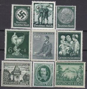 Third-Reich-9-MNH-Nazi-Swastika-Hitler-Stamps