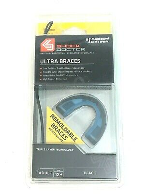 ADULT 12+ NEW 4720A RED SHOCK DOCTOR ULTRA BRACES REMOLDABLE MOUTHGUARD