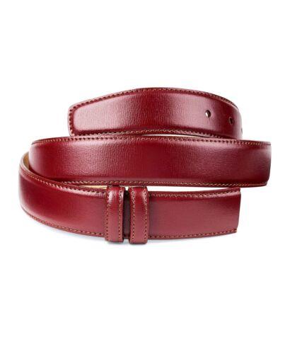 Mens Burgundy Leather Belt No buckle strap Italian Calfskin Belts by Capo Pelle