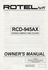 Rotel RCD-945AX CD Player Owners Manual