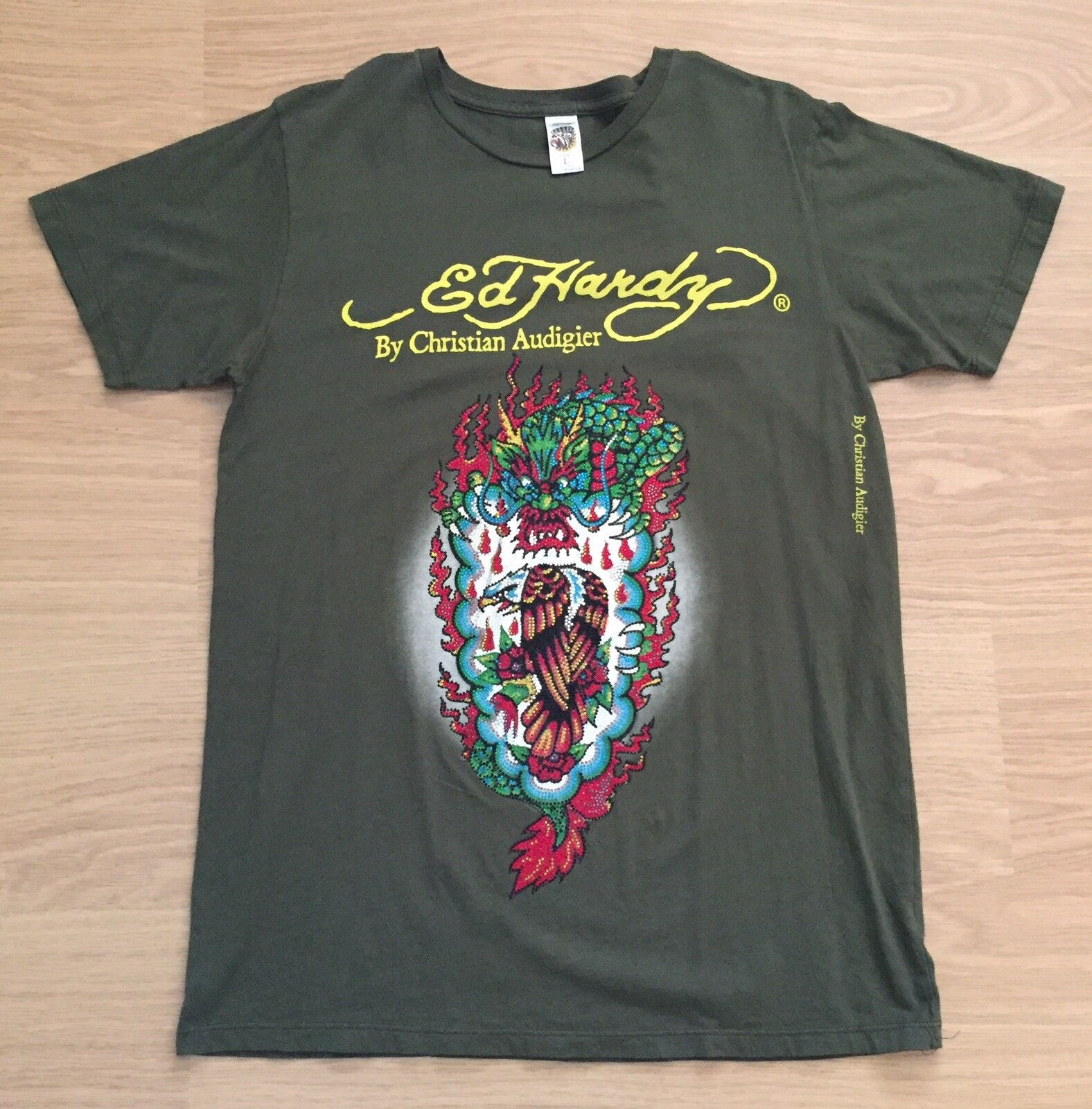 Brand New Men's Vintage Ed Hardy T-Shirt. Green. Large. RRP