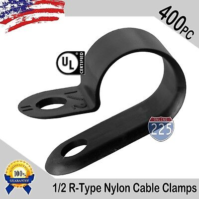 """100 PCS PACK 1//2/"""" Inch R-Type CABLE CLAMPS NYLON BLACK HOSE WIRE ELECTRICAL UV"""