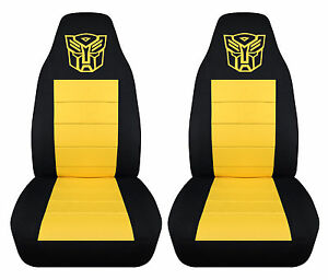 Super Details About Front Set Black And Yellow Highback Car Seat Covers With Transformer Design Lamtechconsult Wood Chair Design Ideas Lamtechconsultcom