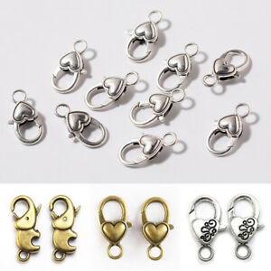 10pcs-Gold-Silver-Plated-Black-Lobster-clasps-Claw-hooks-jewelry-findings-DIY