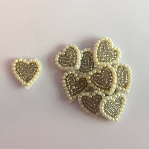 10 x Beaded Sequin Embroidered Pearl Love Hearts Crafts Card Making Motifs #7A90