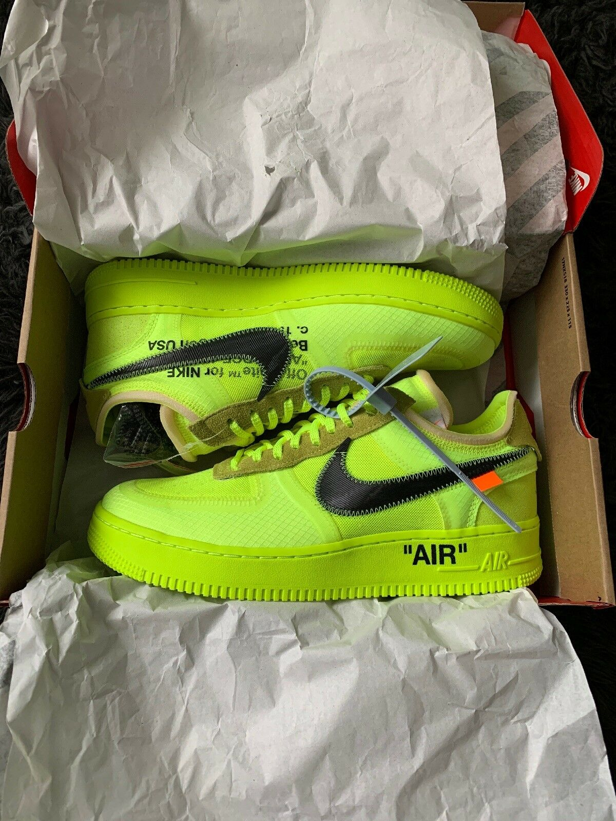 Authentic Nike Off White Air Force 1 Volt Size 9 DS OG One Virgil Abloh The Ten