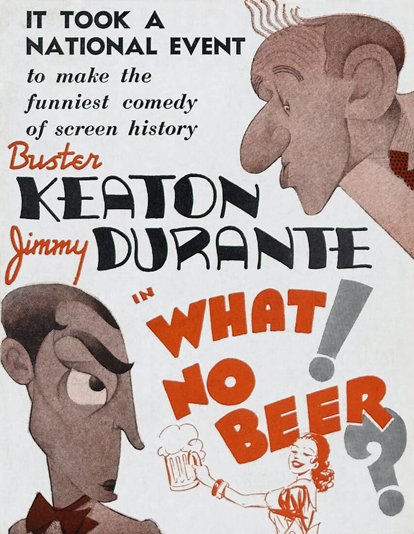Buster Keaton & Jimmy Durante in What No Beer - 24 x36  Canvas Classic Movie