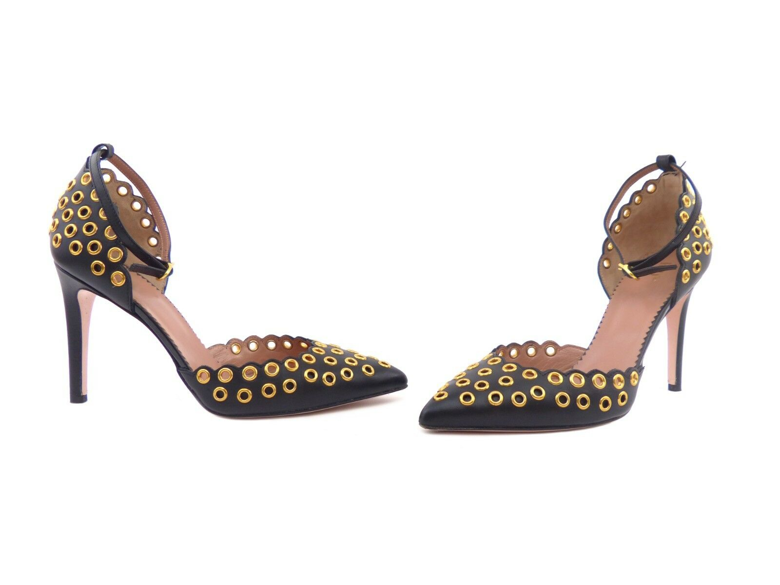 RED Valentino Black Leather with gold gold gold Eyelet Embellishments 46642a